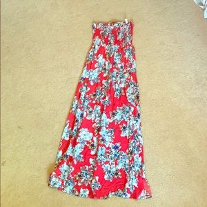 Floral Strapless Maxi Dress - Small